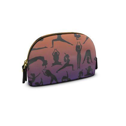Small Premium Nappa Make Up Bag - Burnt Sunset Yoga Poses