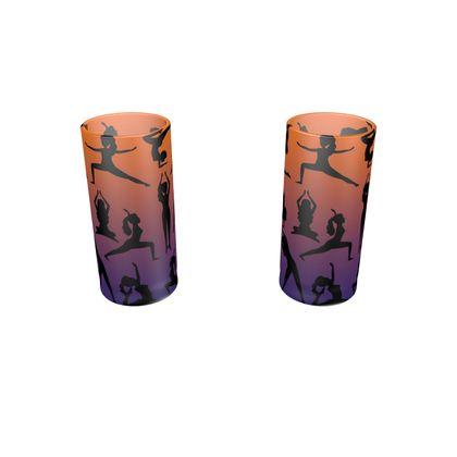 Large Round Shot Glass 2 Set - Burnt Sunset Yoga Poses