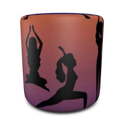 Round Pouffe - Burnt Sunset Yoga Poses