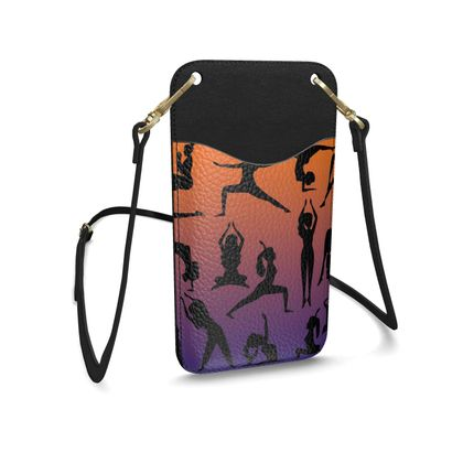 Leather Phone Case With Strap - Burnt Sunset Yoga Poses