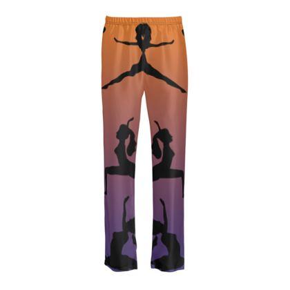 Ladies Silk Pyjama Bottoms - Burnt Sunset Yoga Poses