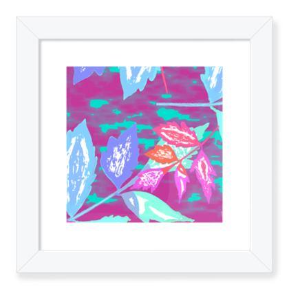 Framed Art Prints Mauve, Turquoise, Botanical  Diamond Leaves  Harlequin