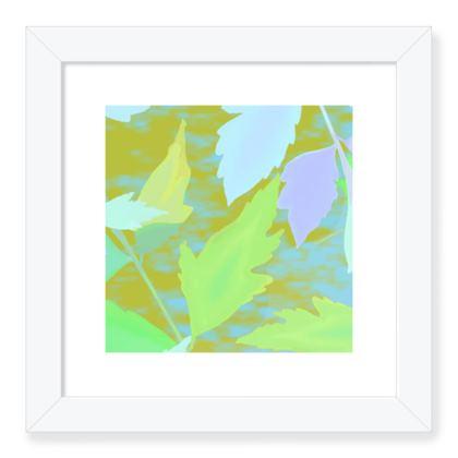 Framed Art Prints Green, Blue, Botanical  Cathedral Leaves  Summer Leaves