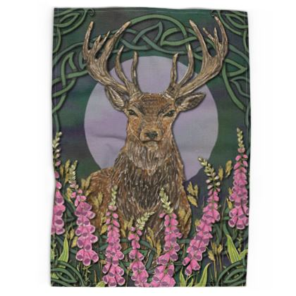 Celtic Stag & Foxgloves Tea Towel