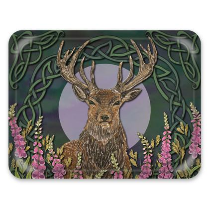 Celtic Stag & Foxgloves Tray