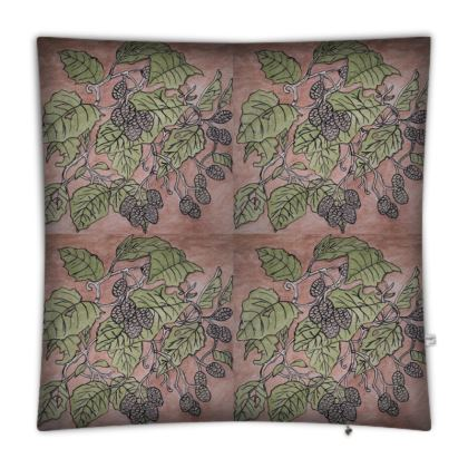 'Alder Leaf' Floor Cushion in Pink and Green
