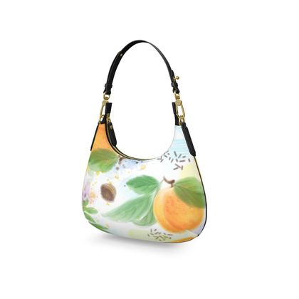 Little sun - Mini Curve Bag - fruit design, apricots, sunny, orchard, yellow, bright, natural food, garden, hand-drawn floral, summer gift - design by Tiana Lofd