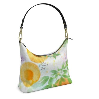 Little sun - Square Hobo Bag - fruit design, apricots, sunny, orchard, yellow, bright, natural food, garden, hand-drawn floral, summer gift - design by Tiana Lofd
