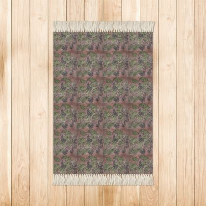 'Alder Leaf'' Rug in Pink and Green
