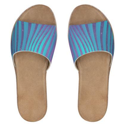 Women's Leather Sliders - Emmeline Anne Glamorous Stripes Ocean Blues