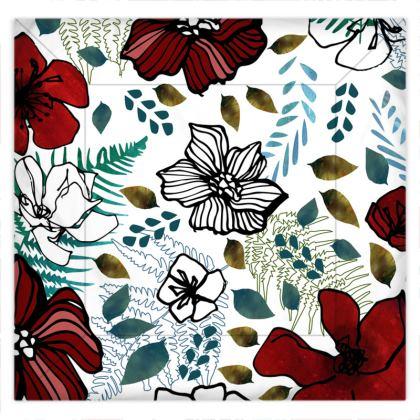 Wild Red Flowers Duvet Cover