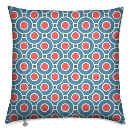 Japanese summer - Cushions - Geometric shapes, abstract, blue and red, circles, elegant vintage, trendy, sophisticated stylish gift, modern, sports, spectacular retro - design by Tiana Lofd