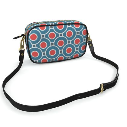Japanese summer - Camera Bag - Geometric shapes, abstract, blue and red, circles, elegant vintage, trendy, sophisticated stylish gift, modern, sports, spectacular retro - design by Tiana Lofd