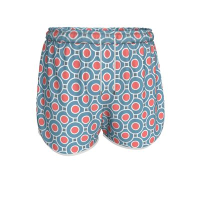 Japanese summer - Womens Running Shorts - Geometric shapes, abstract, blue and red, circles, elegant vintage, trendy, sophisticated stylish gift, modern, sports, spectacular retro - design by Tiana Lofd
