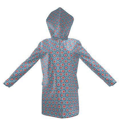 Japanese summer - Womens Hooded Rain Mac - Geometric shapes, abstract, blue and red, circles, elegant vintage, trendy, sophisticated stylish gift, modern, sports, spectacular retro - design by Tiana Lofd