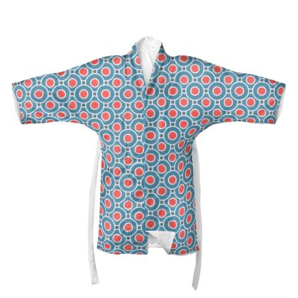 Japanese summer - Kimono - Geometric shapes, abstract, blue and red, circles, elegant vintage, trendy, sophisticated stylish gift, modern, sports, spectacular retro - design by Tiana Lofd