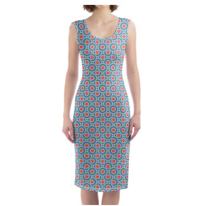 Japanese summer - Bodycon Dress - Geometric shapes, abstract, blue and red, circles, elegant vintage, trendy, sophisticated stylish gift, modern, sports, spectacular retro - design by Tiana Lofd