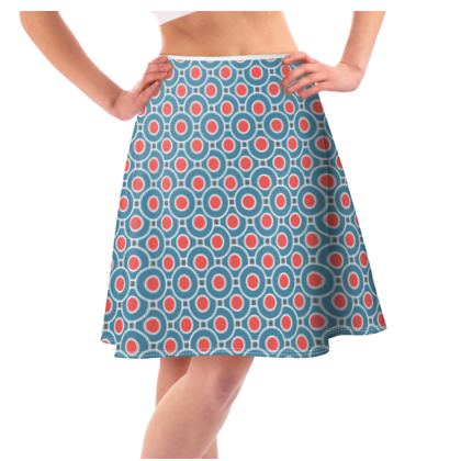 Japanese summer - Flared Skirt - Geometric shapes, abstract, blue and red, circles, elegant vintage, trendy, sophisticated stylish gift, modern, sports, spectacular retro - design by Tiana Lofd