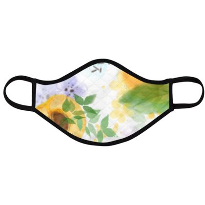 Face Masks - fruit design, apricots, flowers, sunny, orchard, yellow, bright, natural food, garden, hand-drawn floral, summer gift - design by Tiana Lofd