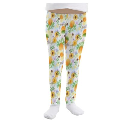 Little sun - Girls Leggings - fruit design, apricots, sunny, orchard, yellow, bright, natural food, garden, hand-drawn floral, summer gift - design by Tiana Lofd