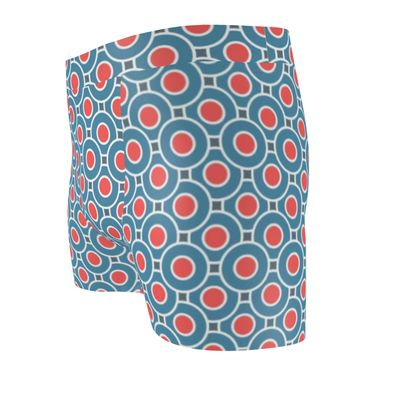 Japanese summer - Cut & Sew Boxer Briefs - Geometric shapes, abstract, blue and red, circles, elegant vintage, trendy, sophisticated stylish gift, modern, sports, spectacular retro - design by Tiana Lofd