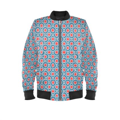 Japanese summer - Ladies Bomber Jacket - Geometric shapes, abstract, blue and red, circles, elegant vintage, trendy, sophisticated stylish gift, modern, sports, spectacular retro - design by Tiana Lofd