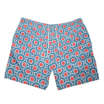 Japanese summer - Mens Swimming Shorts - Geometric shapes, abstract, blue and red, circles, elegant vintage, trendy, sophisticated stylish gift, modern, sports, spectacular retro - design by Tiana Lofd