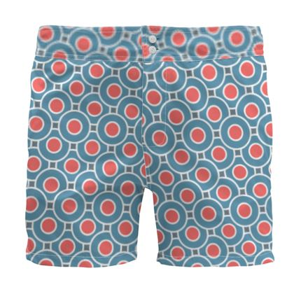 Japanese summer - Board Shorts - Geometric shapes, abstract, blue and red, circles, elegant vintage, trendy, sophisticated stylish gift, modern, sports, spectacular retro - design by Tiana Lofd
