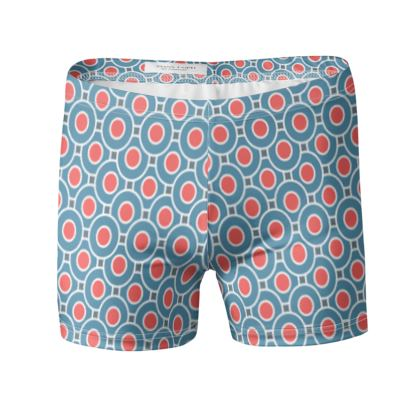 Japanese summer - Swimming Trunks - Geometric shapes, abstract, blue and red, circles, elegant vintage, trendy, sophisticated stylish gift, modern, sports, spectacular retro - design by Tiana Lofd