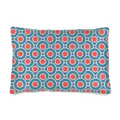 Japanese summer - Silk Pillow Case - Geometric shapes, abstract, blue and red, circles, elegant vintage, trendy, sophisticated stylish gift, modern, sports, spectacular retro - design by Tiana Lofd