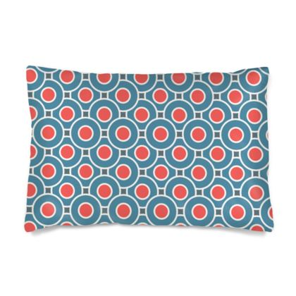Japanese summer - Silk Pillow Cases sizes - Geometric shapes, abstract, blue and red, circles, elegant vintage, trendy, sophisticated stylish gift, modern, sports, spectacular retro - design by Tiana Lofd