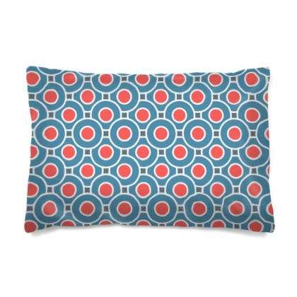 Japanese summer - Pillow Case - Geometric shapes, abstract, blue and red, circles, elegant vintage, trendy, sophisticated stylish gift, modern, sports, spectacular retro - design by Tiana Lofd