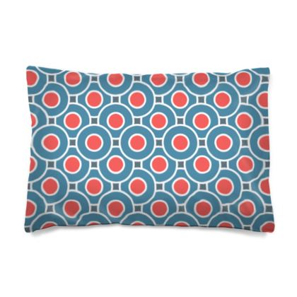 Japanese summer - Pillow Case JAPAN - Geometric shapes, abstract, blue and red, circles, elegant vintage, trendy, sophisticated stylish gift, modern, sports, spectacular retro - design by Tiana Lofd