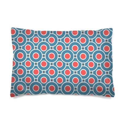 Japanese summer - Pillow Cases sizes - Geometric shapes, abstract, blue and red, circles, elegant vintage, trendy, sophisticated stylish gift, modern, sports, spectacular retro - design by Tiana Lofd