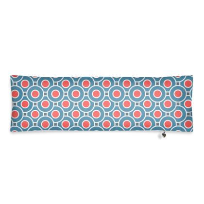 Japanese summer - Bolster Cushion - Geometric shapes, abstract, blue and red, circles, elegant vintage, trendy, sophisticated stylish gift, modern, sports, spectacular retro - design by Tiana Lofd