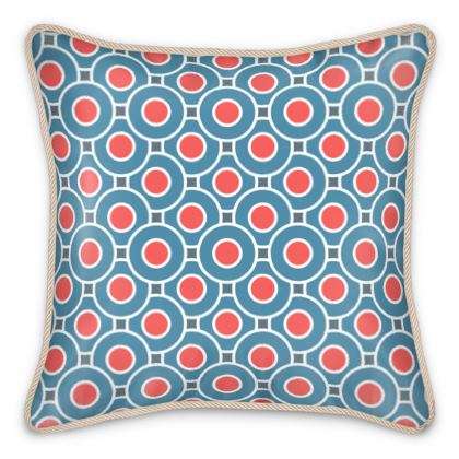 Japanese summer - Silk Cushions - Geometric shapes, abstract, blue and red, circles, elegant vintage, trendy, sophisticated stylish gift, modern, sports, spectacular retro - design by Tiana Lofd
