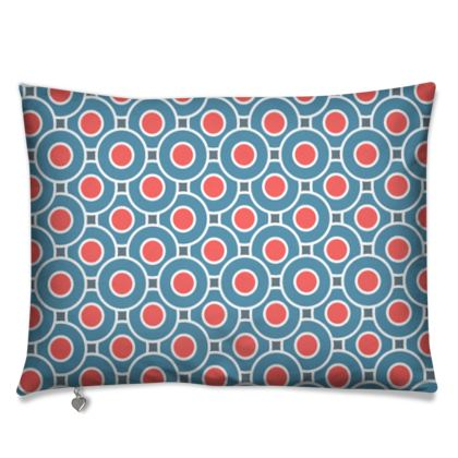 Japanese summer - Luxury Cushions - Geometric shapes, abstract, blue and red, circles, elegant vintage, trendy, sophisticated stylish gift, modern, sports, spectacular retro - design by Tiana Lofd
