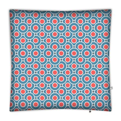 Japanese summer - Floor Cushion Covers - Geometric shapes, abstract, blue and red, circles, elegant vintage, trendy, sophisticated stylish gift, modern, sports, spectacular retro - design by Tiana Lofd