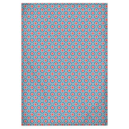 Japanese summer - Duvet Covers - Geometric shapes, abstract, blue and red, circles, elegant vintage, trendy, sophisticated stylish gift, modern, sports, spectacular retro - design by Tiana Lofd