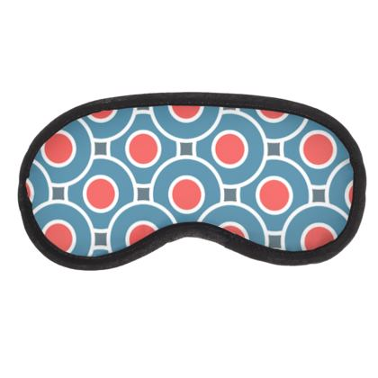 Japanese summer - Eye Mask - Geometric shapes, abstract, blue and red, circles, elegant vintage, trendy, sophisticated stylish gift, modern, sports, spectacular retro - design by Tiana Lofd