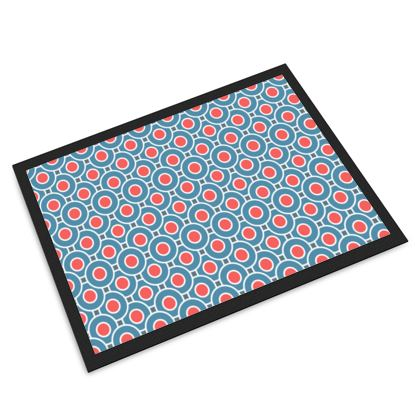 Japanese summer - Door Mat - Geometric shapes, abstract, blue and red, circles, elegant vintage, trendy, sophisticated stylish gift, modern, sports, spectacular retro - design by Tiana Lofd
