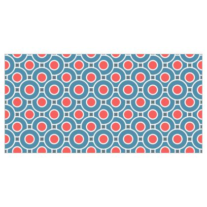 Japanese summer - Curtains - Geometric shapes, abstract, blue and red, circles, elegant vintage, trendy, sophisticated stylish gift, modern, sports, spectacular retro - design by Tiana Lofd