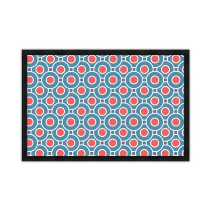 Japanese summer - Mats - Geometric shapes, abstract, blue and red, circles, elegant vintage, trendy, sophisticated stylish gift, modern, sports, spectacular retro - design by Tiana Lofd