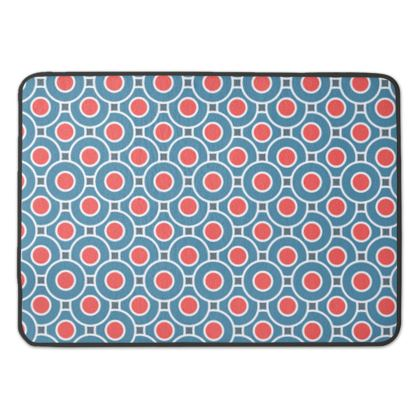 Japanese summer - Bath Mat - Geometric shapes, abstract, blue and red, circles, elegant vintage, trendy, sophisticated stylish gift, modern, sports, spectacular retro - design by Tiana Lofd