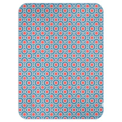 Japanese summer - Single Layer Blankets - Geometric shapes, abstract, blue and red, circles, elegant vintage, trendy, sophisticated stylish gift, modern, sports, spectacular retro - design by Tiana Lofd