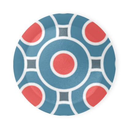 Japanese summer - Round Coaster Trays - Geometric shapes, abstract, blue and red, circles, elegant vintage, trendy, sophisticated stylish gift, modern, sports, spectacular retro - design by Tiana Lofd