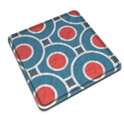 Japanese summer - Leather Coasters - Geometric shapes, abstract, blue and red, circles, elegant vintage, trendy, sophisticated stylish gift, modern, sports, spectacular retro - design by Tiana Lofd