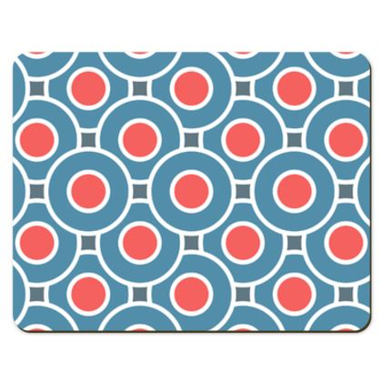Japanese summer - Placemats - Geometric shapes, abstract, blue and red, circles, elegant vintage, trendy, sophisticated stylish gift, modern, sports, spectacular retro - design by Tiana Lofd