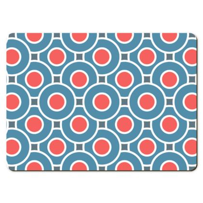 Japanese summer - Large Placemats - Geometric shapes, abstract, blue and red, circles, elegant vintage, trendy, sophisticated stylish gift, modern, sports, spectacular retro - design by Tiana Lofd