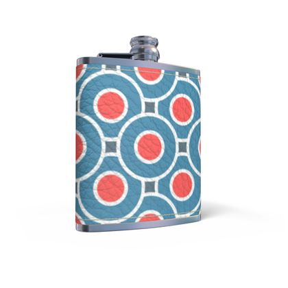 Japanese summer - Leather Wrapped Hip Flask - Geometric shapes, abstract, blue and red, circles, elegant vintage, trendy, sophisticated stylish gift, modern, sports, spectacular retro - design by Tiana Lofd
